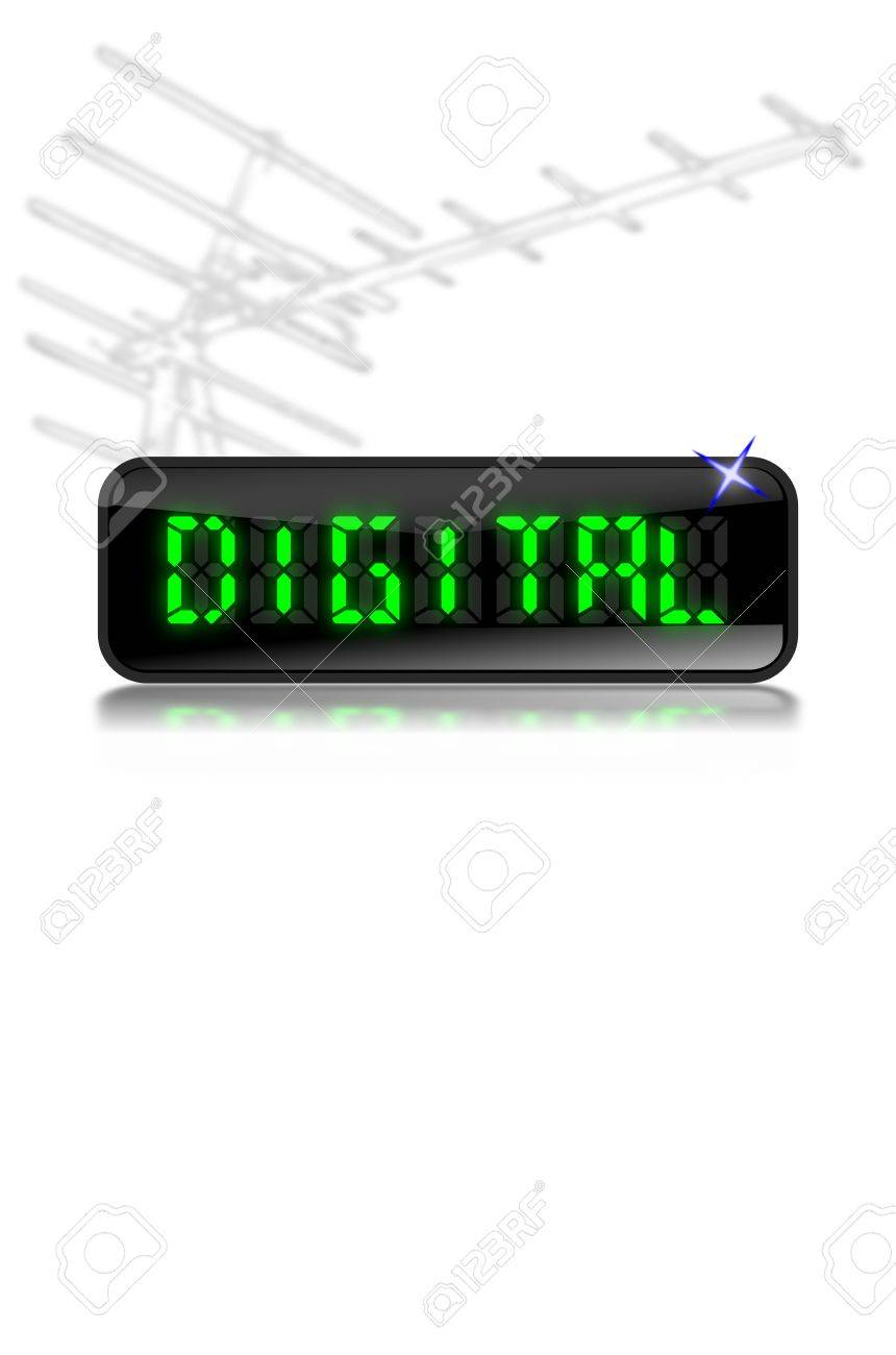 Illustration of an LCD display with the word 'digital' in glowing green letters with reflection below and modern digital Tv aerial above Stock Illustration - 5627809