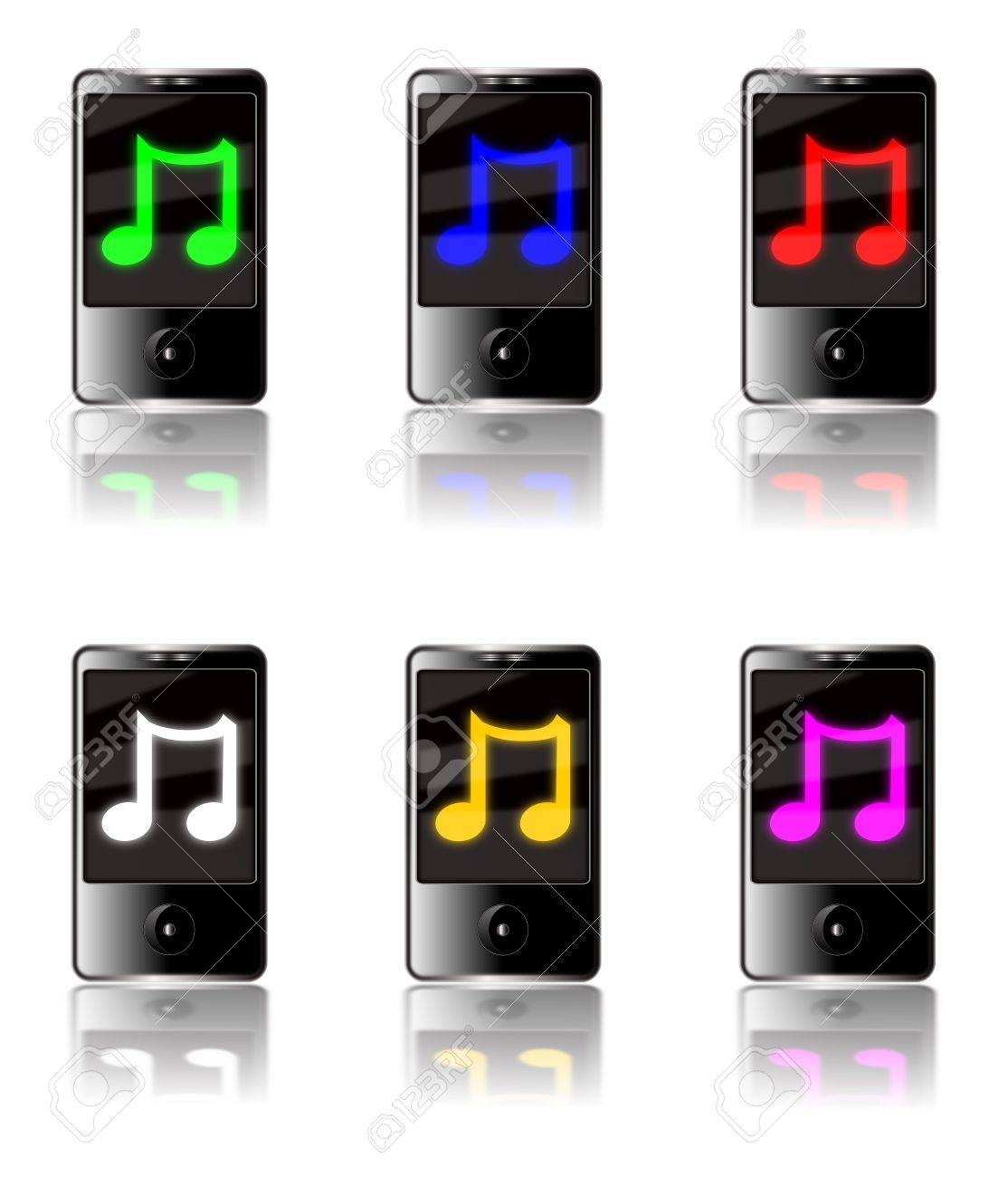 Illustration of six generic touch screen MP3 players isolated on a white background with a luminous musical note symbol on each screen in various colors with reflections below. Stock Illustration - 5627811