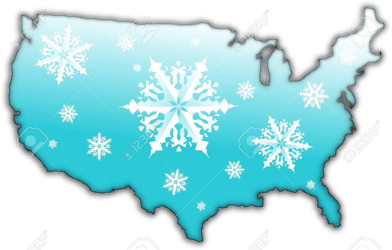 Map of the USA with a blue surface and covered in snow flakes Stock Photo - 6204369