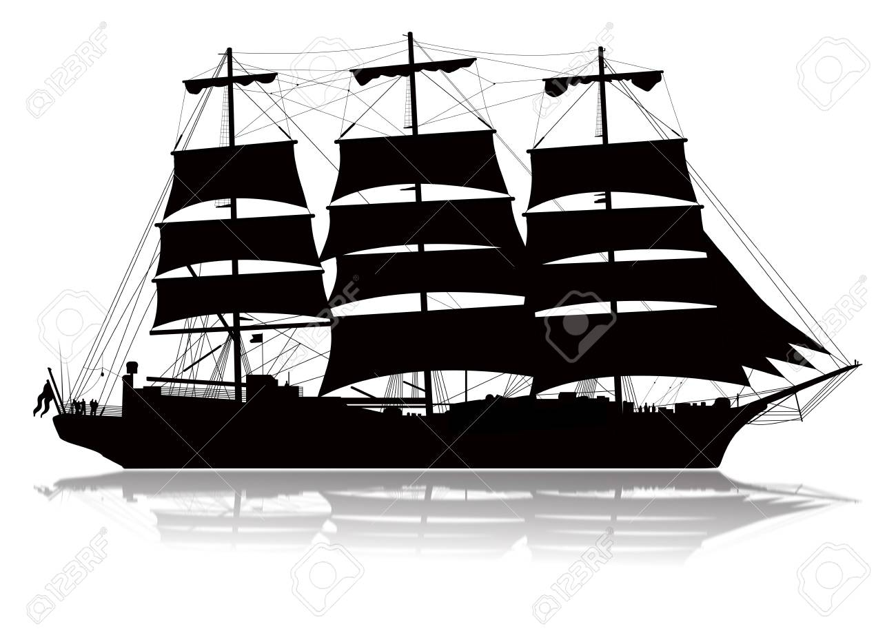 Detailed sailing ship with lower reflection Stock Photo - 6246772