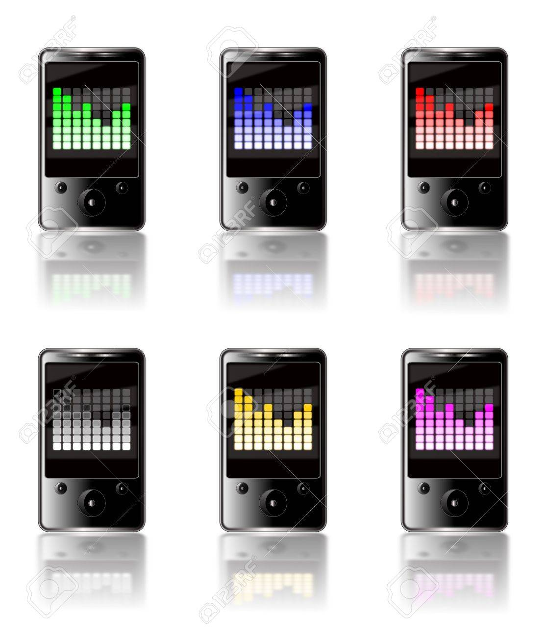 Illustration of six generic touch screen MP3 players isolated on a white background with a luminous graphic equalizer display on each screen in various colors with reflections below. Stock Illustration - 6317834