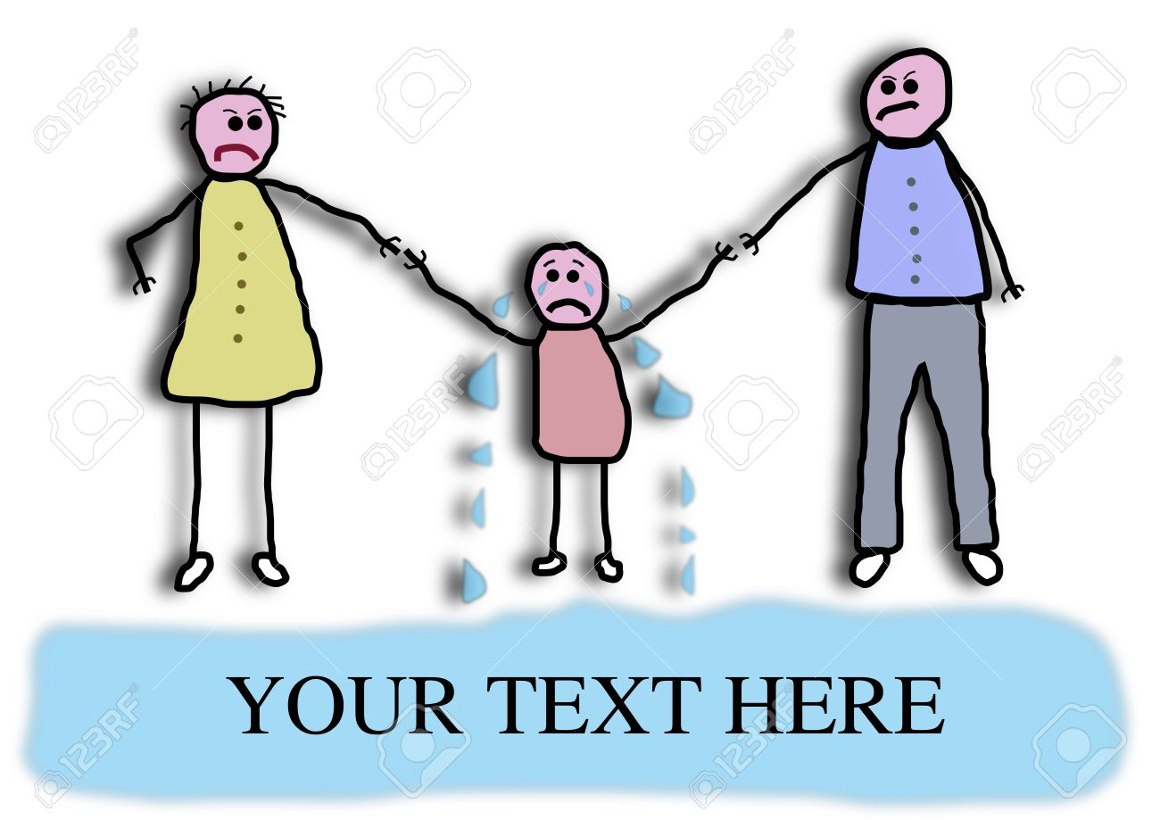 Child-like illustration of two parents tugging a child who is crying into a large pool of tears Stock Illustration - 6317831