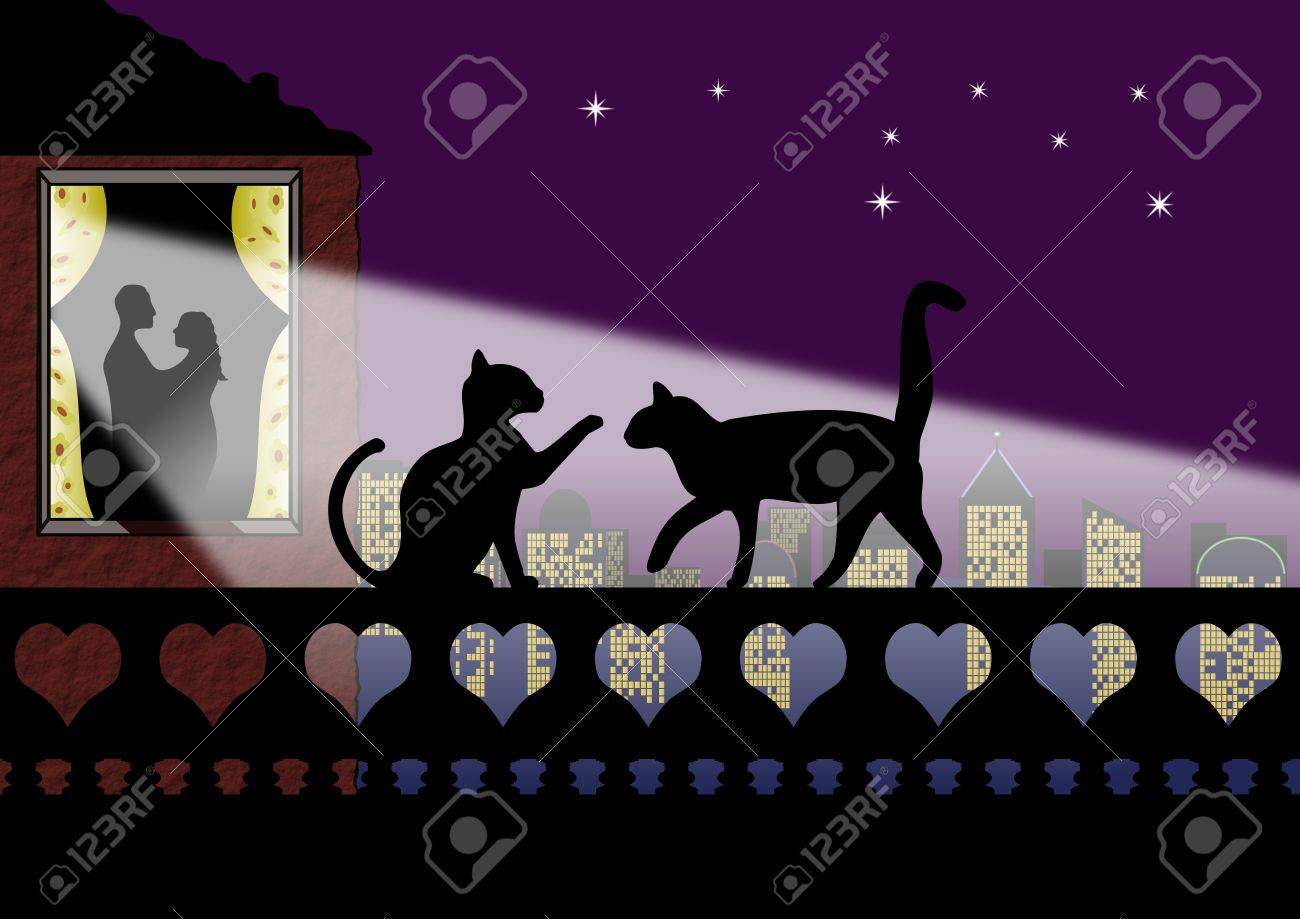 Silhouette of cats on a wall of hearts with romantic couple at window Stock Photo - 6317830
