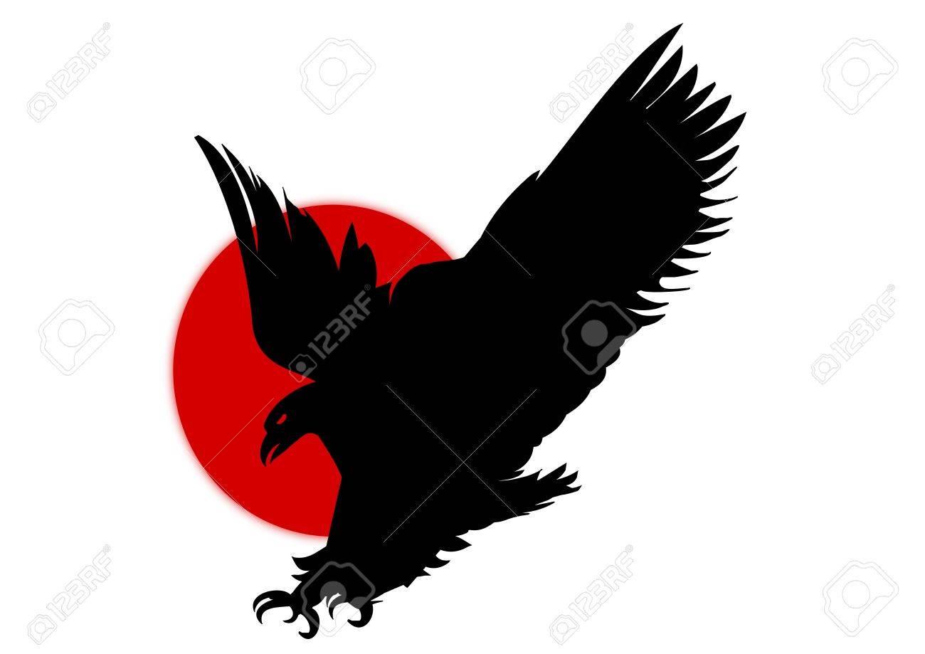 Silhouette of eagle over red sun symbol Stock Photo - 6317832