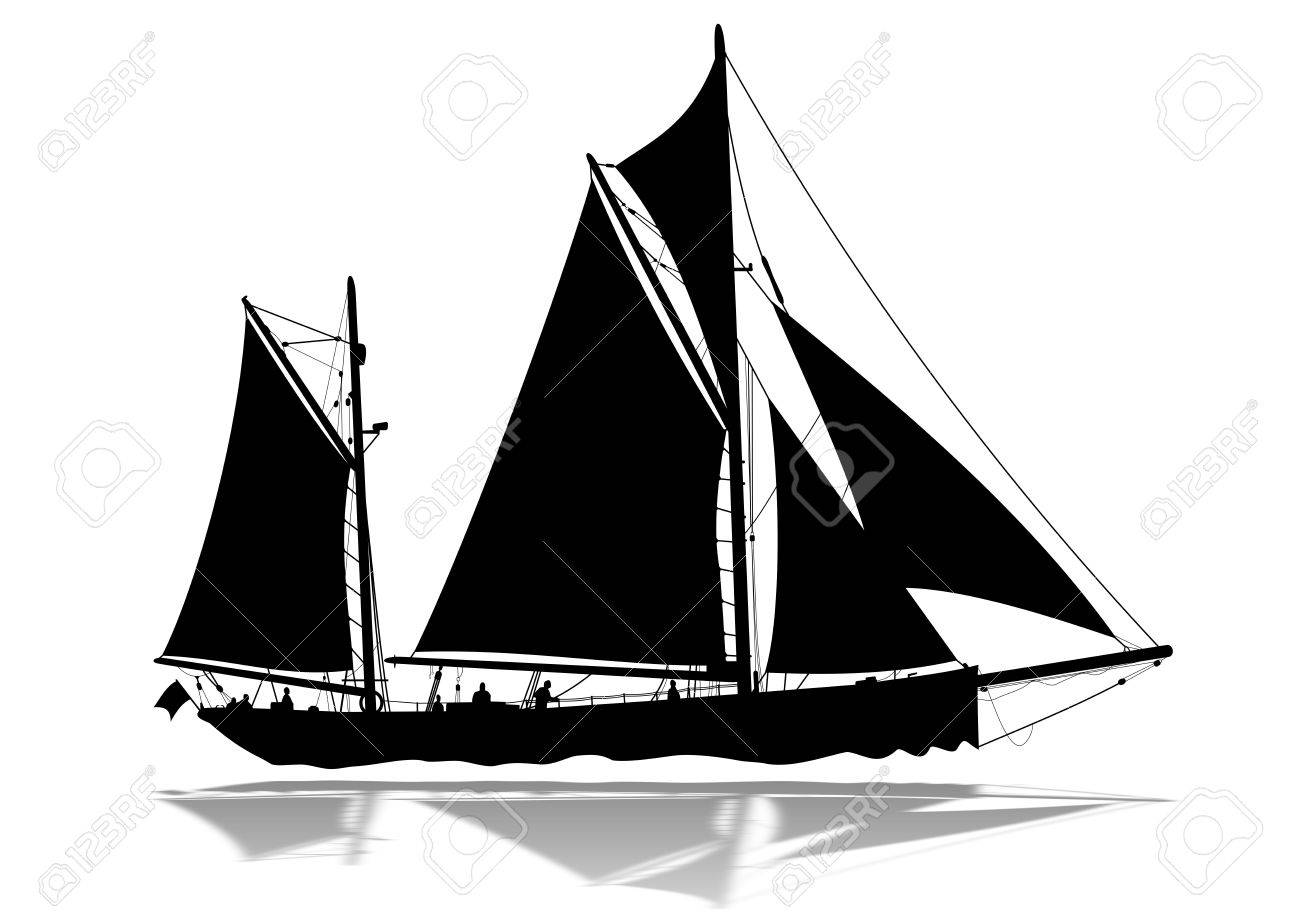 Detailed sailing boat silhouette with lower reflection Stock Photo - 6317835