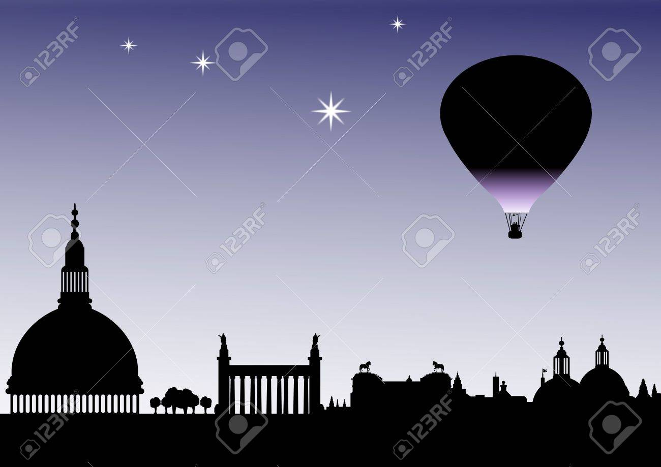 Classical sky line silhouette with balloon and stars Stock Photo - 6353607