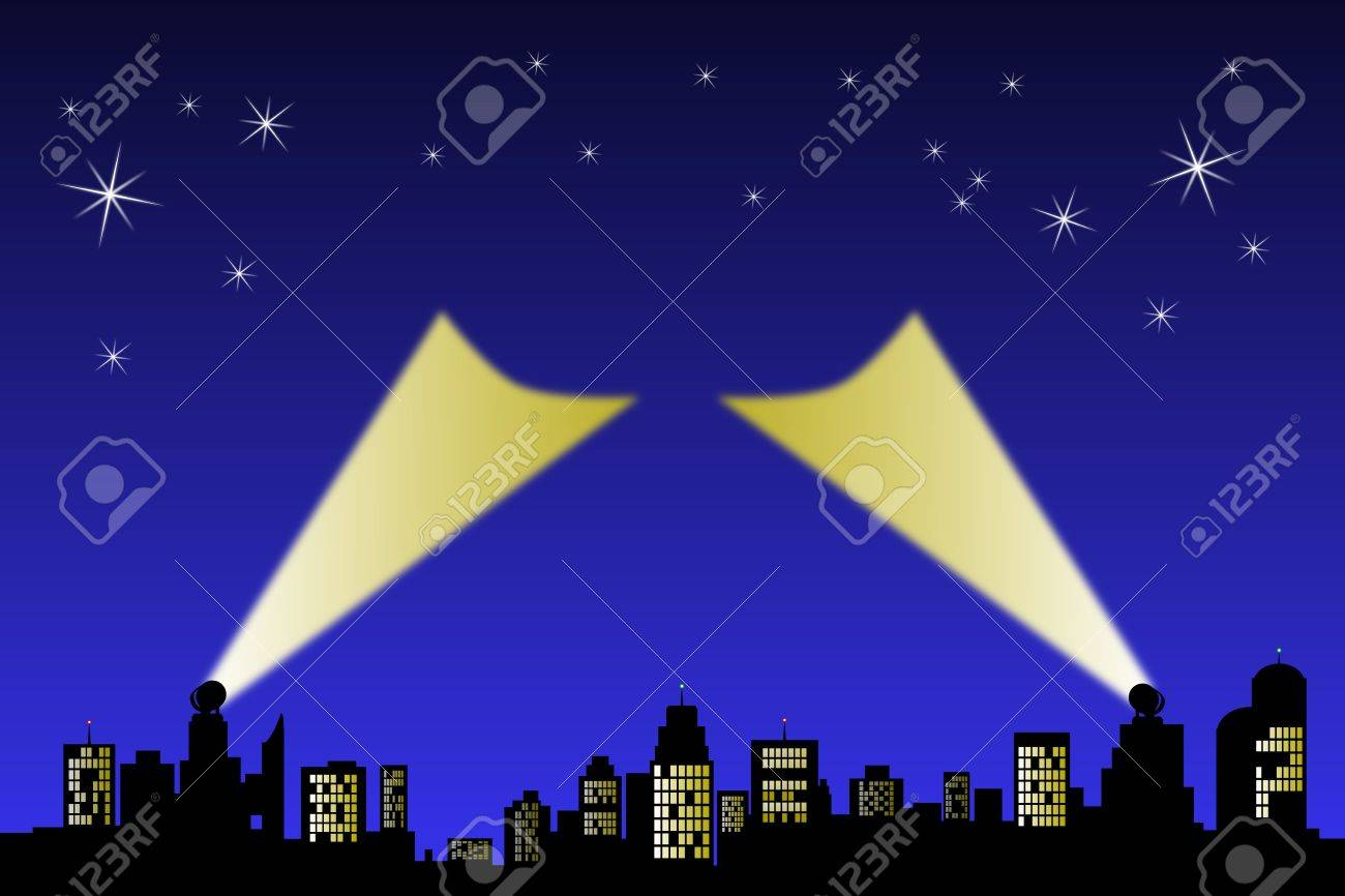 Search light point up to a night sky from a silhouette horizon. Central area ready for text or logo. Stock Photo - 6353611