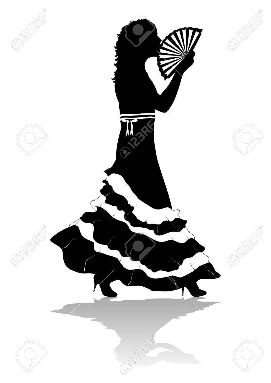 Partial silhouette of girl in dress walking with fan Stock Photo - 6353610