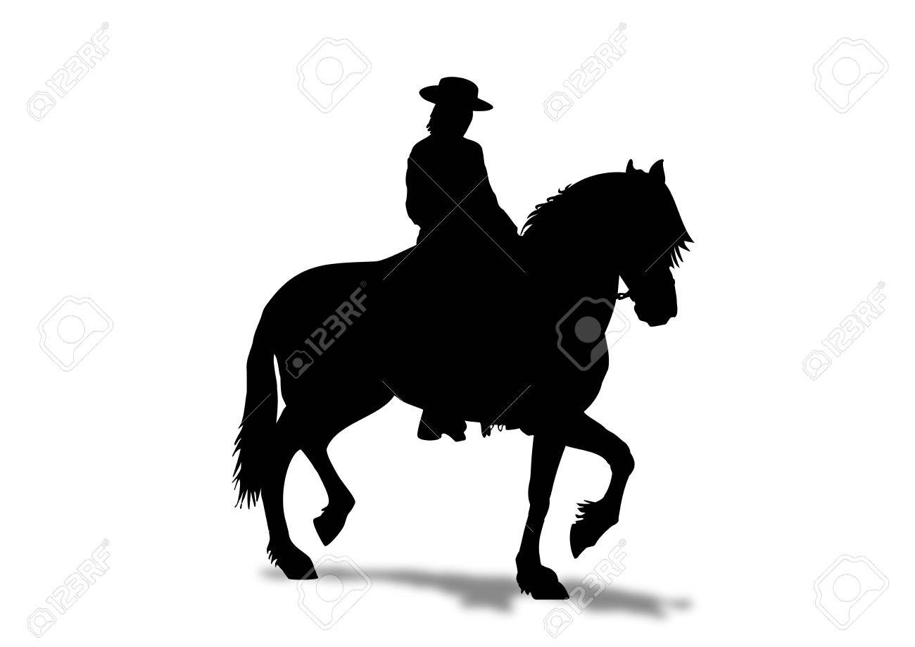 Horse rider with hat in a prancing stance and shadow Stock Photo - 6353608