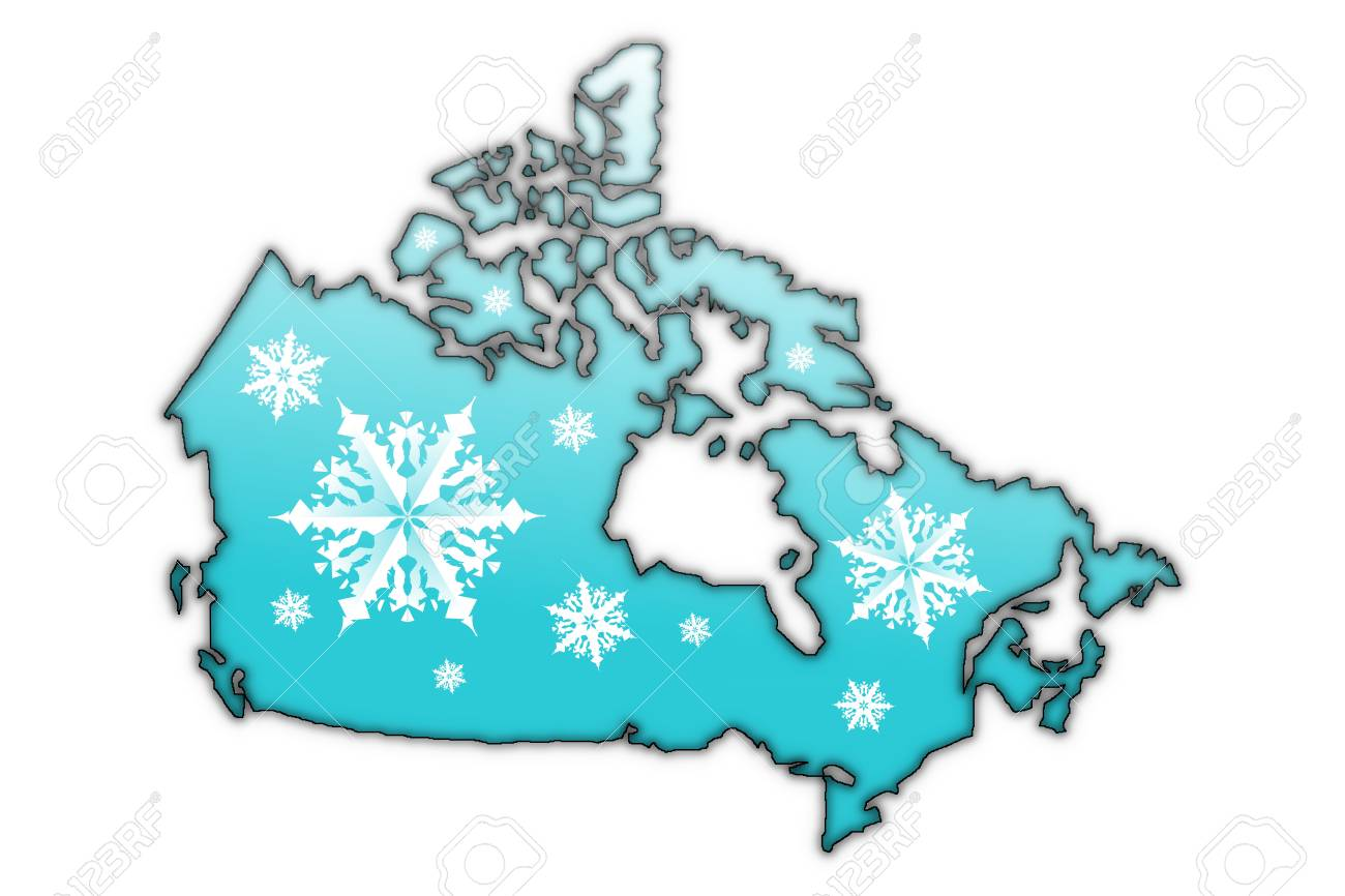 Map of Canada covered in white snow flake designs Stock Photo - 6379515