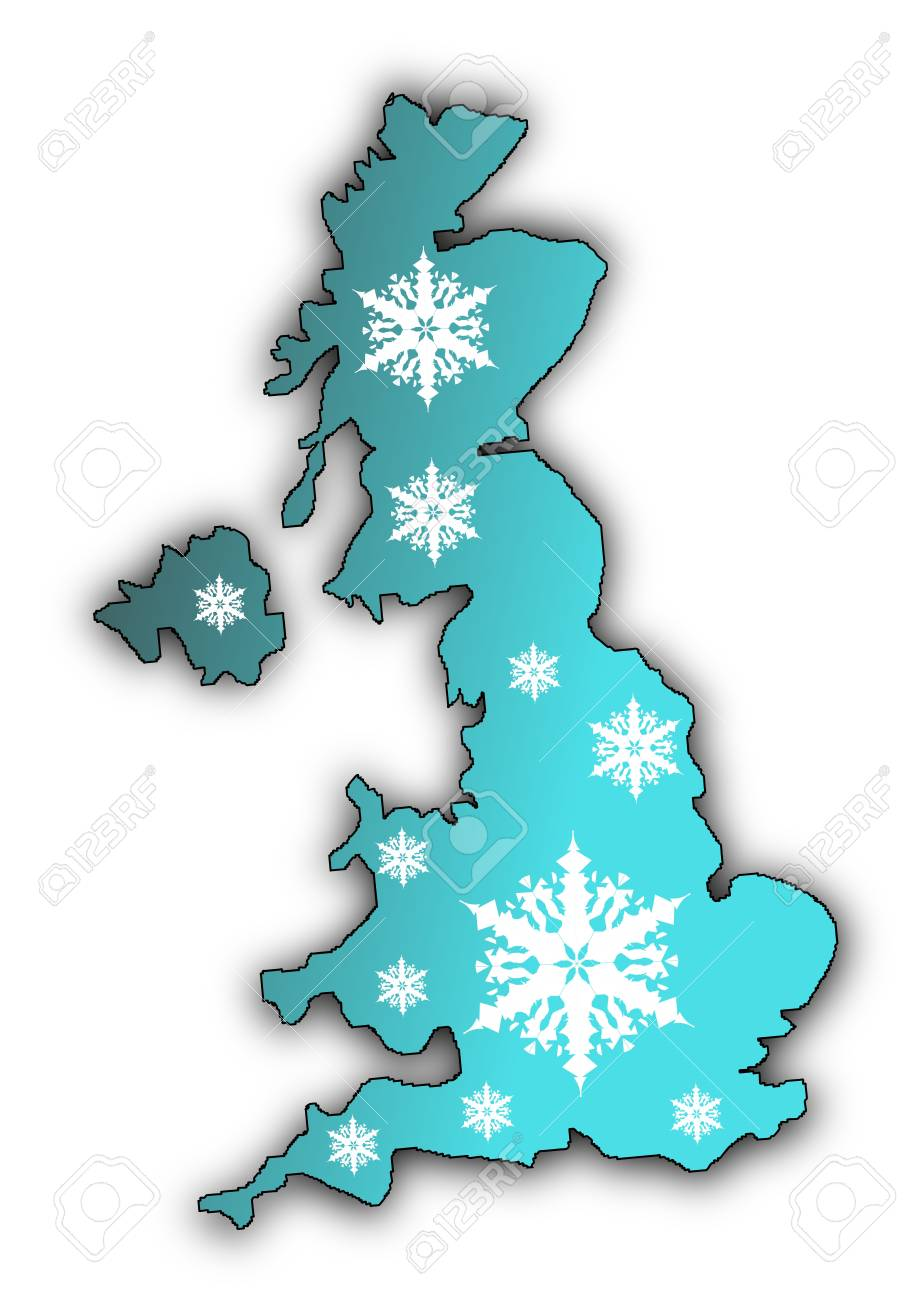Map of the United Kingdom covered in white snow flake designs Stock Photo - 6379528