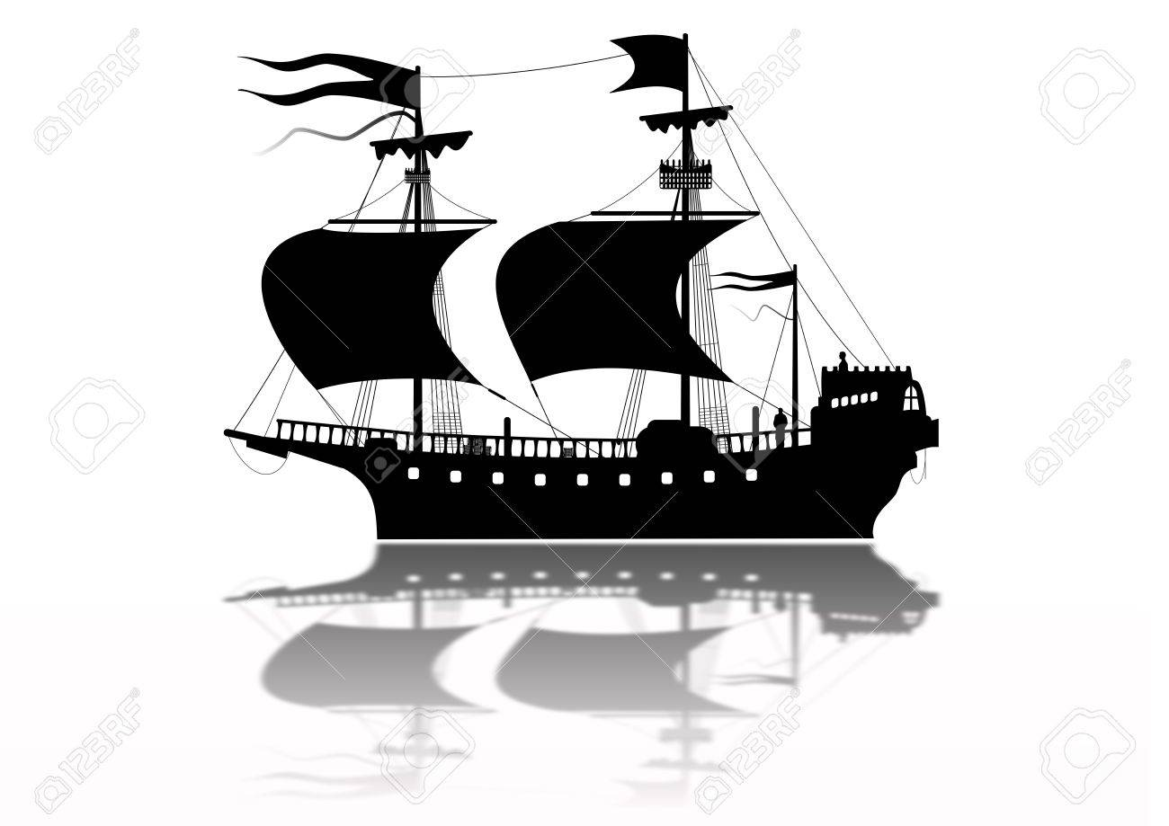 Tudor Warship Silhouette Stock Photo - 6379516