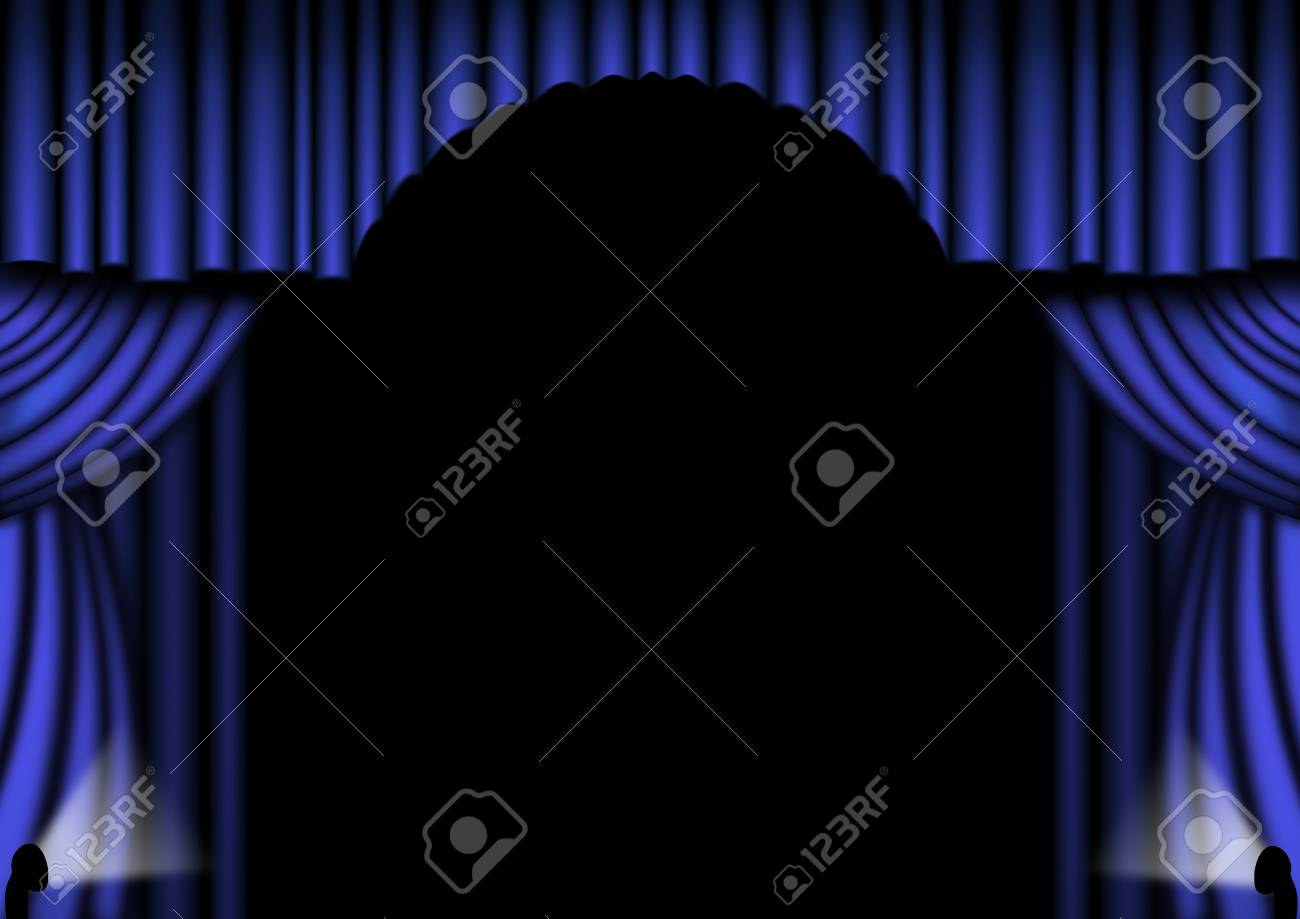 Blue stage drapes with with central arch Stock Photo - 6377840