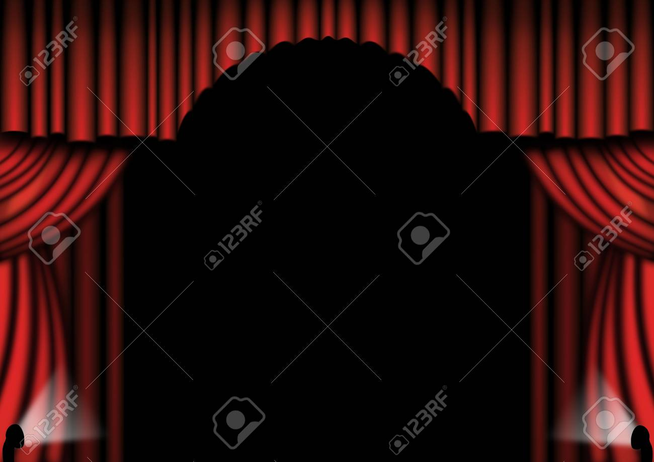 Red theater drapes with spotlights either side Stock Photo - 6377835