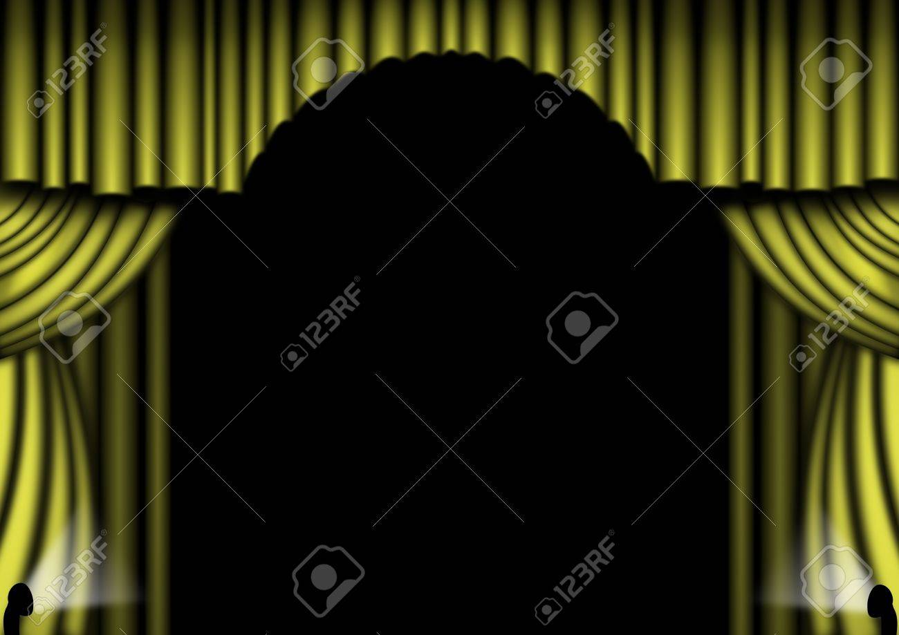 Gold curtains open with spotlights Stock Photo - 6379526