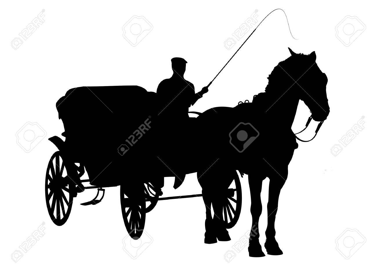 Horse and carriage silhouette with figure holding whip Stock Photo - 6464708