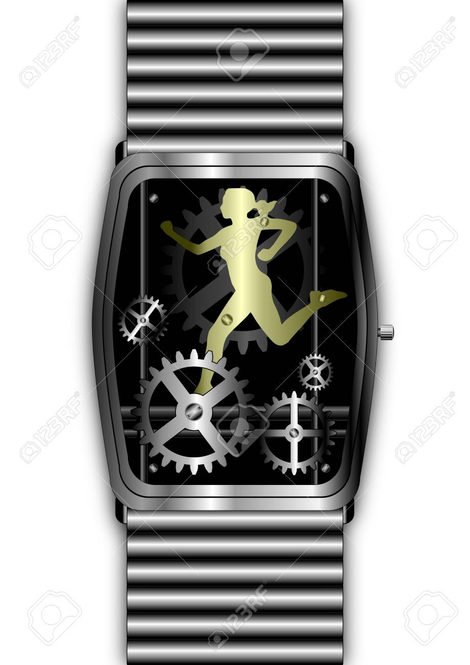 Silver watch movement with gold woman running through the cogs Stock Photo - 6509929