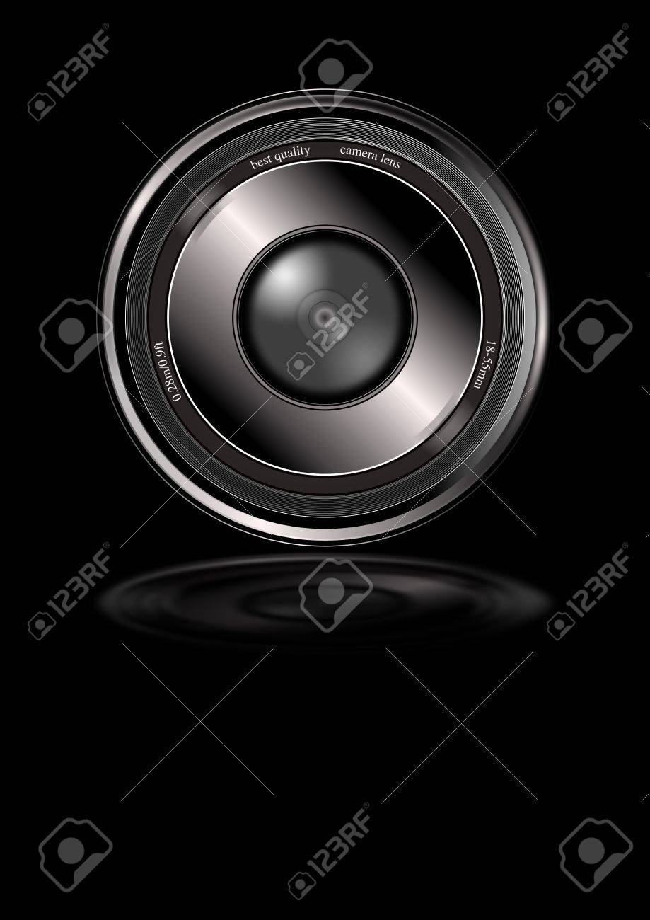 A generic camera lens isolated on a black background with lower reflection. The words 'best quality camera lens' visible within the top area in white lettering. Stock Photo - 6633120