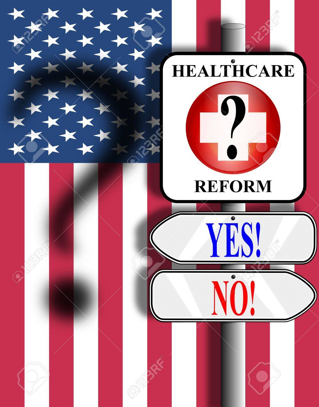 Medical symbol nailed to a pole above two arrow signs. Background image is the American stars and stripes flag with shadow of a question mark. Stock Photo - 6633118