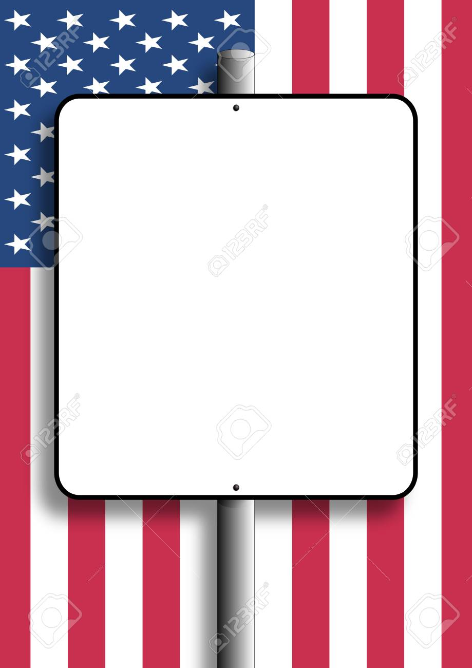 Copy space sign with shadow nailed to pole over flag of USA Stock Photo - 6633121
