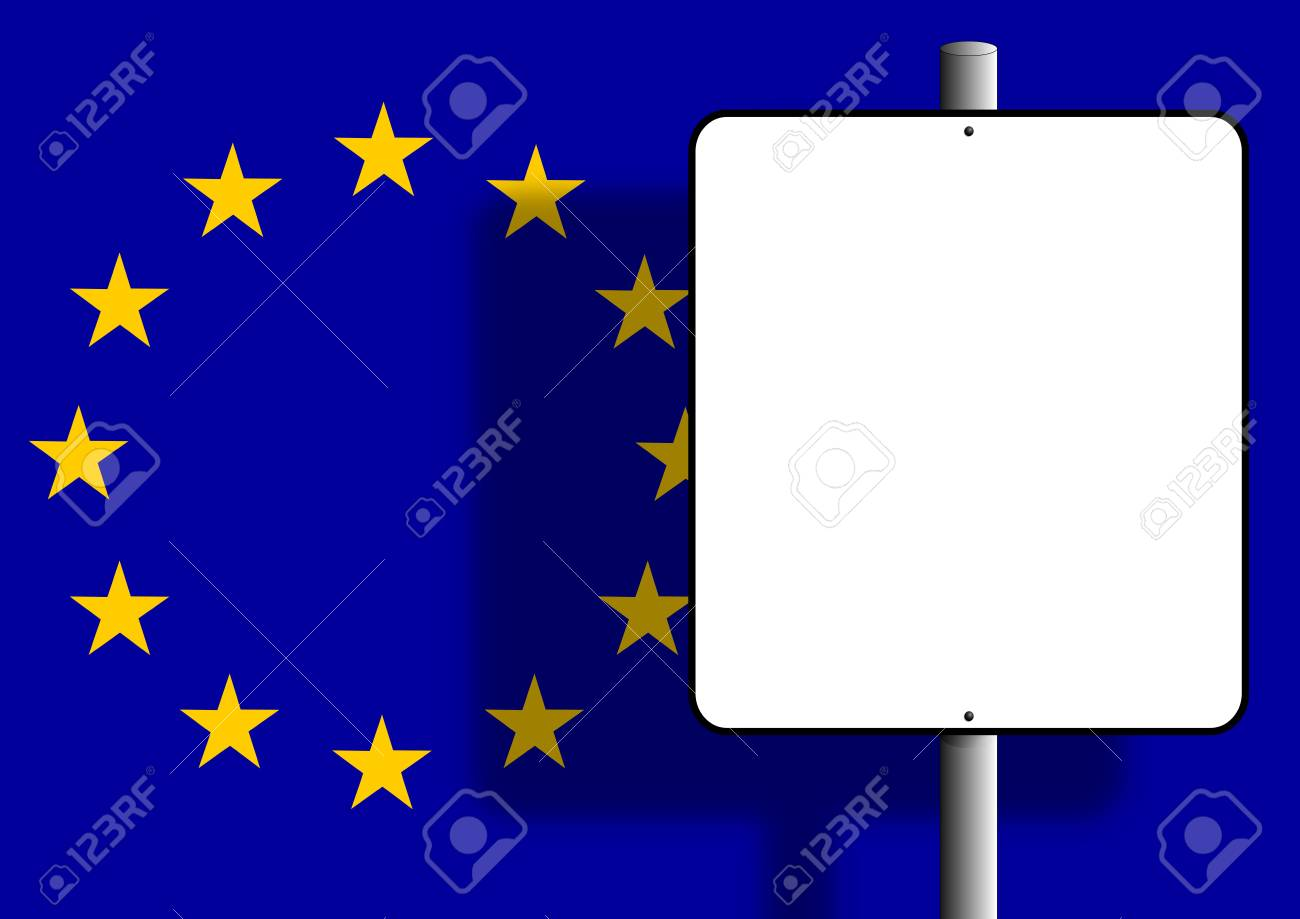 Flag of the european union under a blank sign nailed to a post Stock Photo - 6633129