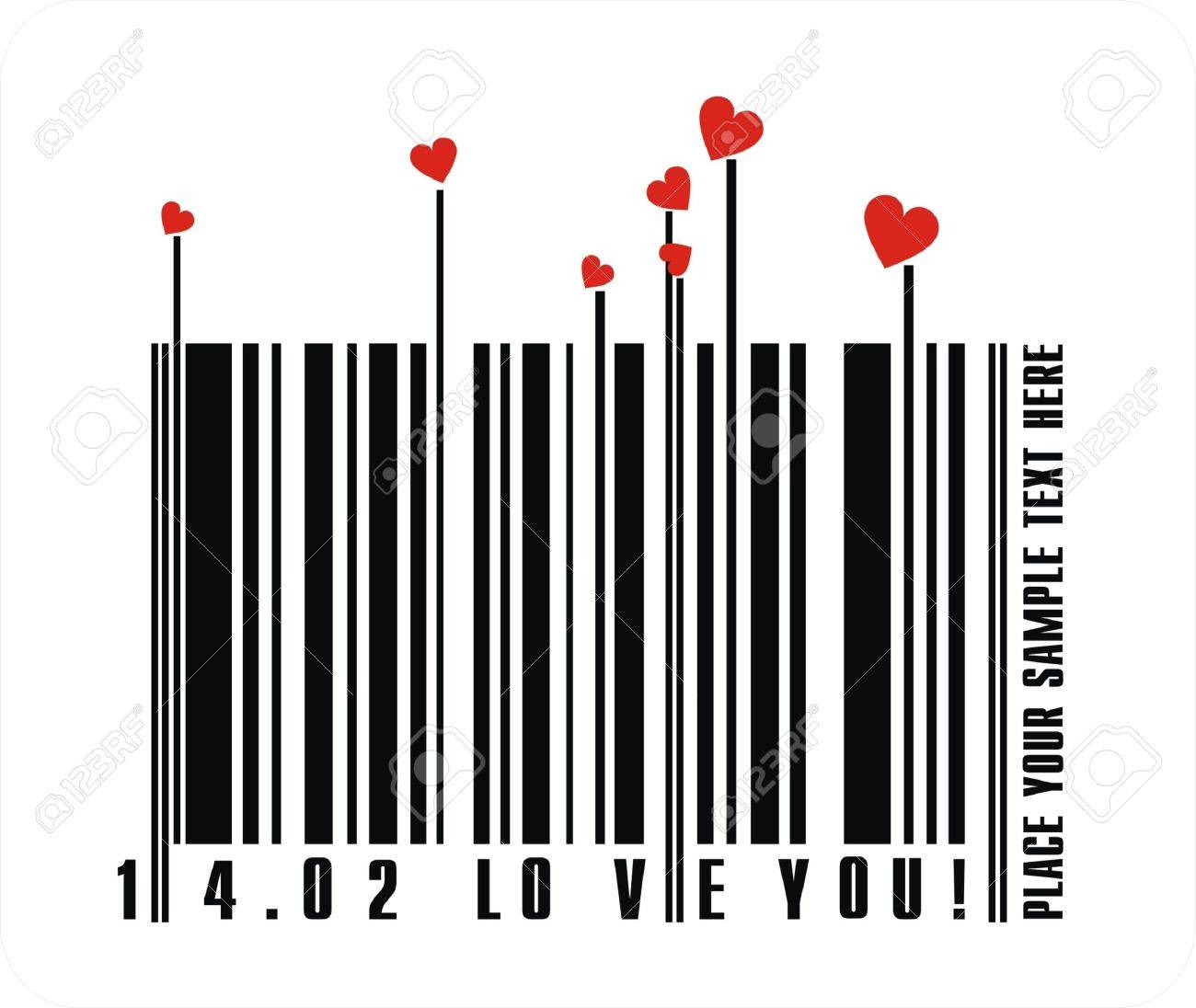 Valentines bar code Stock Vector - 4187720