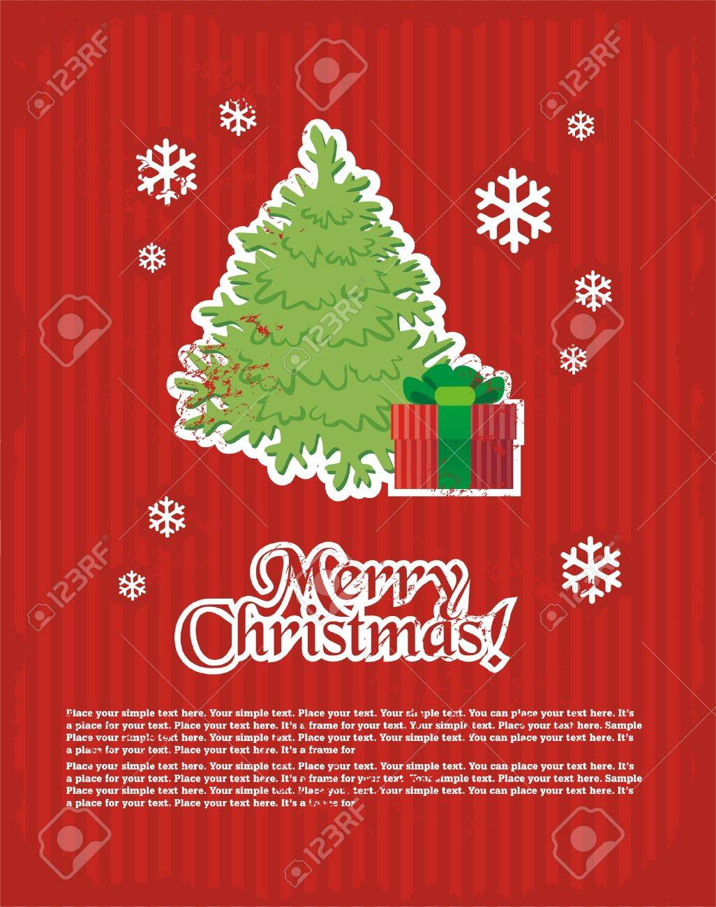 Christmas and New Year's minimal simple postcard with decorative elements and space for your text. Stock Vector - 5754944