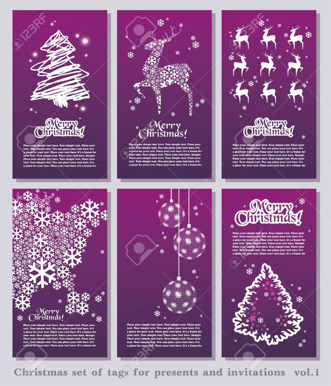 conjunto de etiquetas de navidad mnima simple con elementos decorativos de navidad y el espacio para