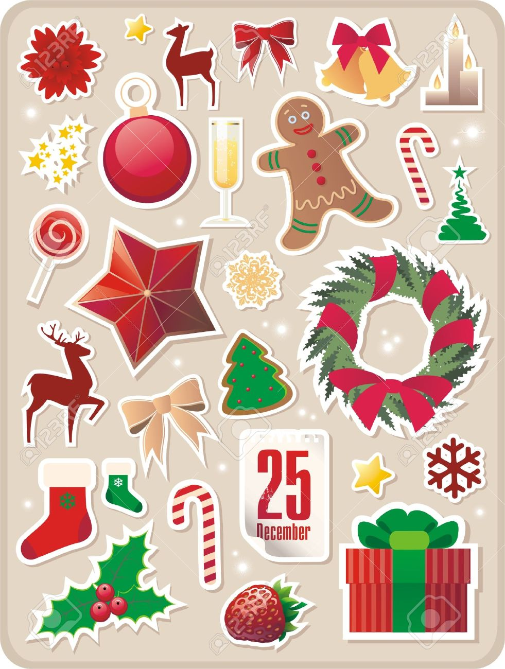 Christmas Stickers.Collection Of Cute Christmas Stickers For Your Design