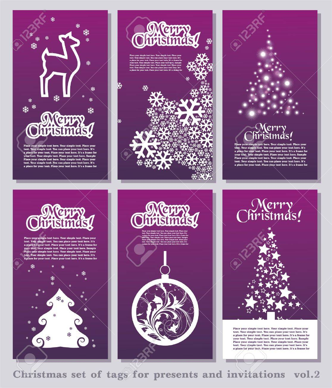 Set of Christmas minimal simple tags with decorative Christmas elements and space for your text. Stock Vector - 5992255