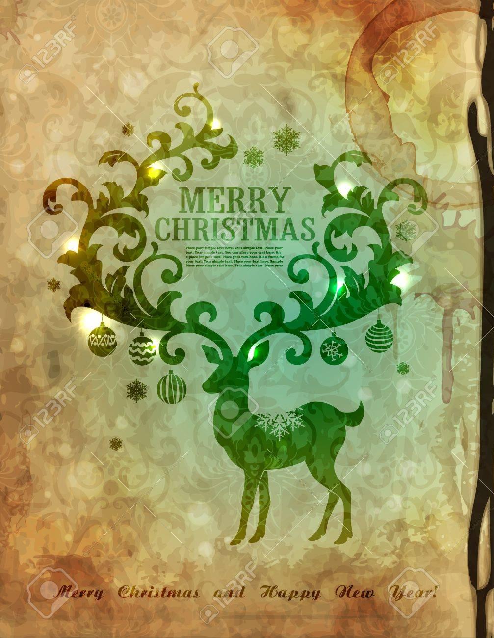 Christmas postcard with deer Stock Vector - 10850328