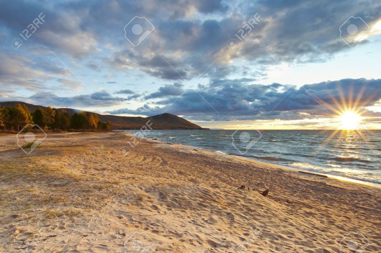 Sunset on Baikal sandy beach Stock Photo - 16324145