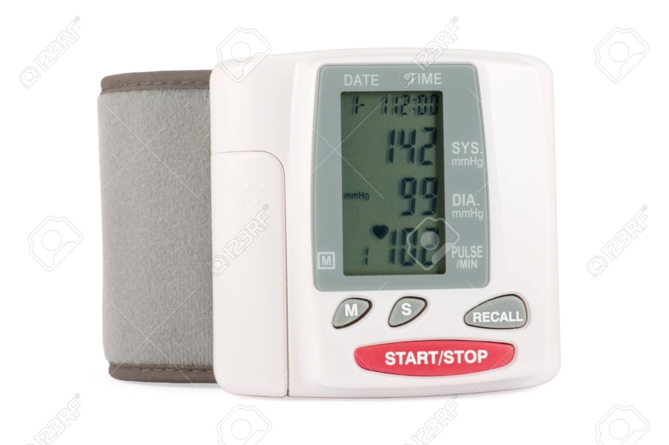 Closeup of a blood pressure measuring device isolated on a white background Stock Photo - 2319676