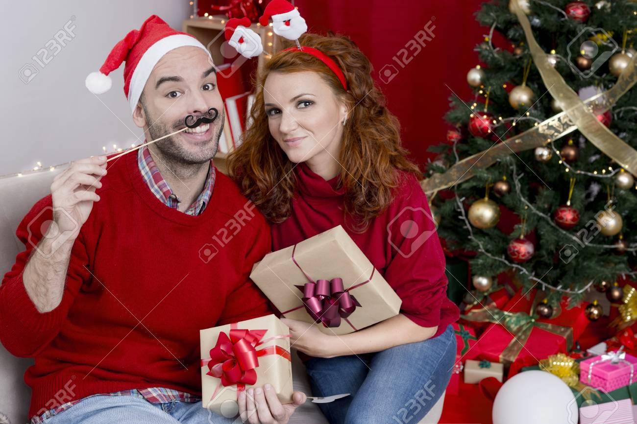 Christmas Funny Couple Stock Photo