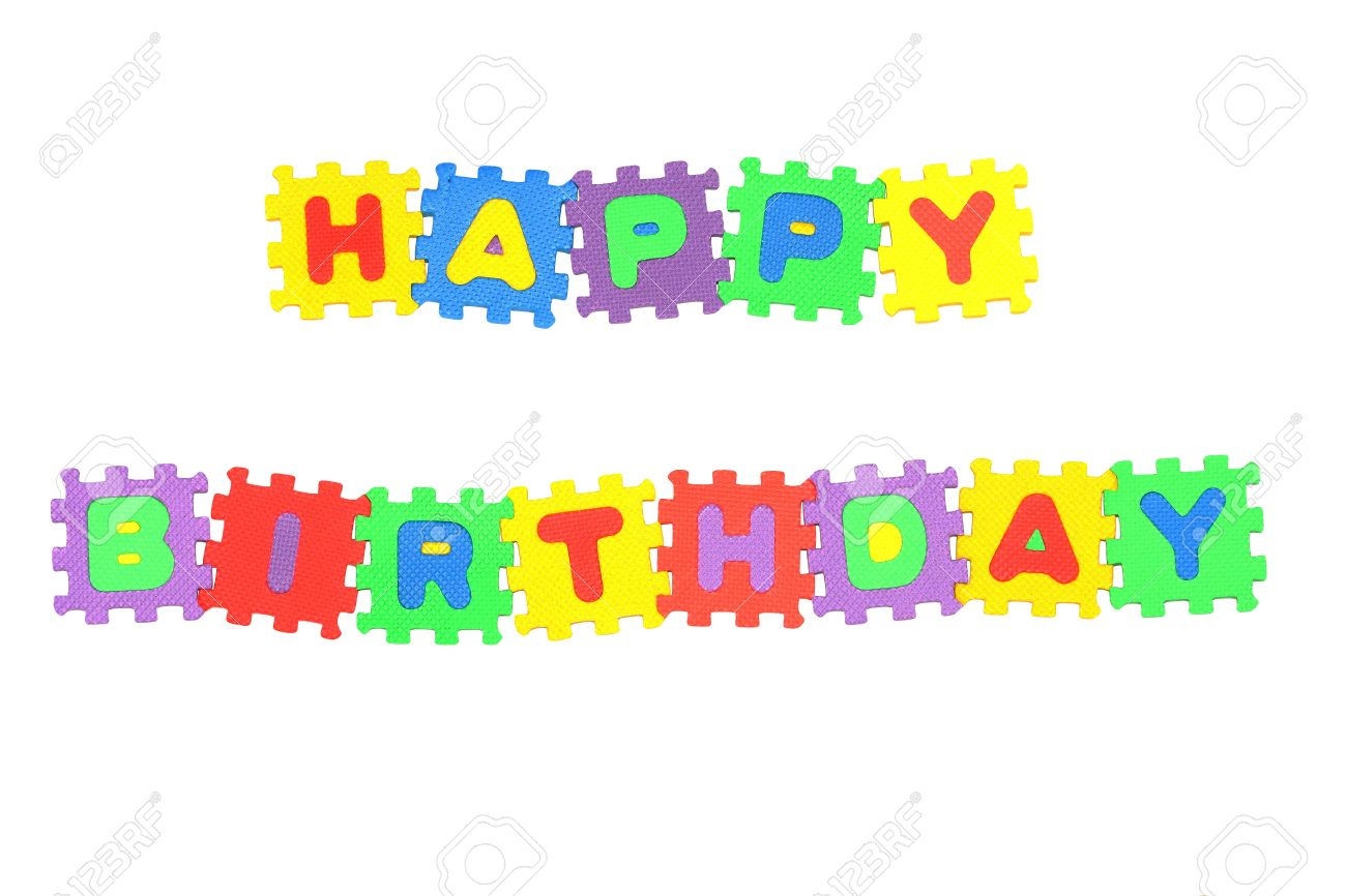 message happy birthday from letter puzzle isolated on white stock photo 6327935
