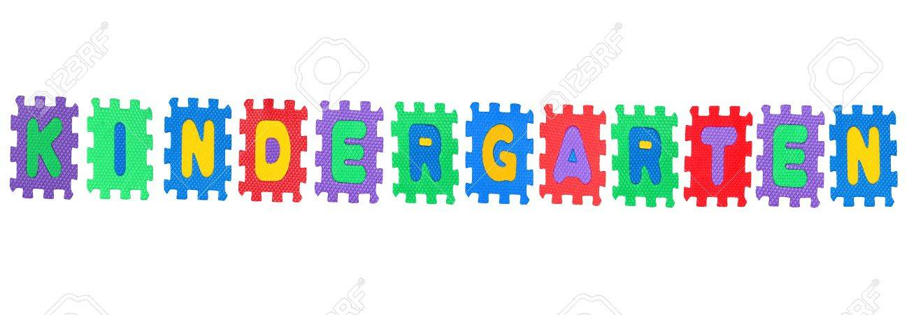 Word kindergarten, from letter puzzle, isolated on white background.