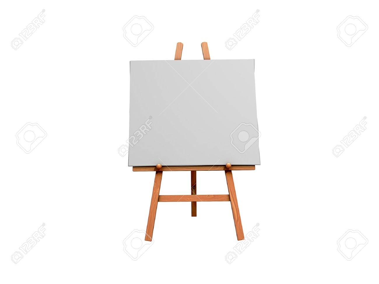 Isolated 3d Image Of An Art Easel And Blank Canvas Stock Photo