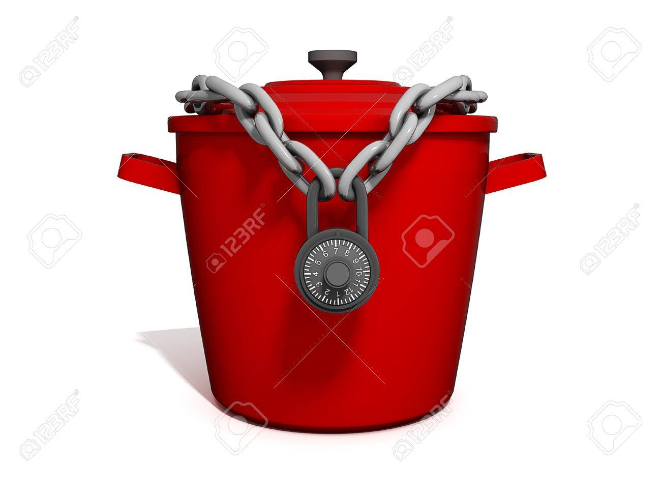 Isolated picture of a Cooking Pot with a lock around it. Stock Photo - 11291225