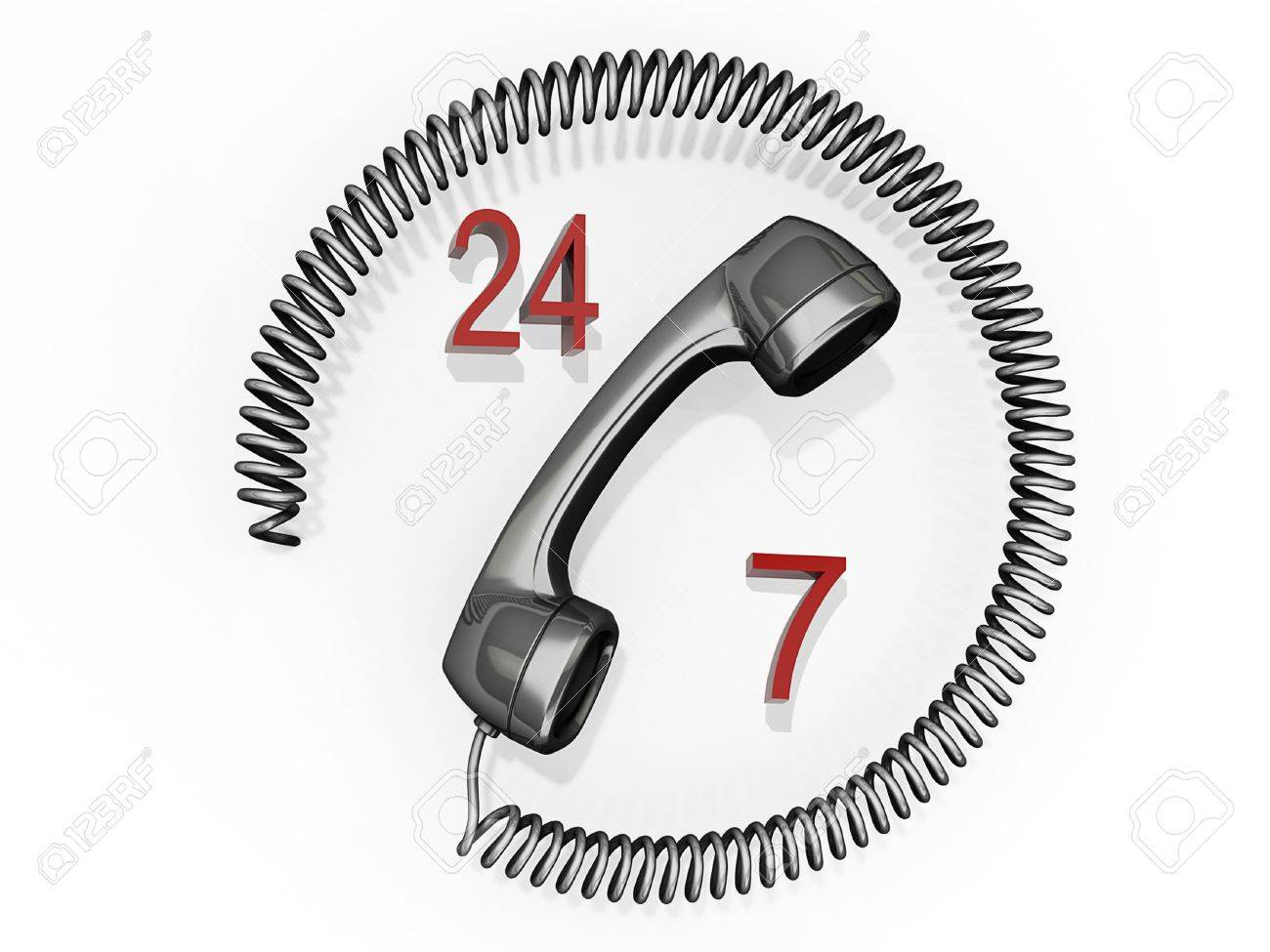 Phone receiver with its cord in a circle around it and the numbers 24 and 7. Stock Photo - 11563250