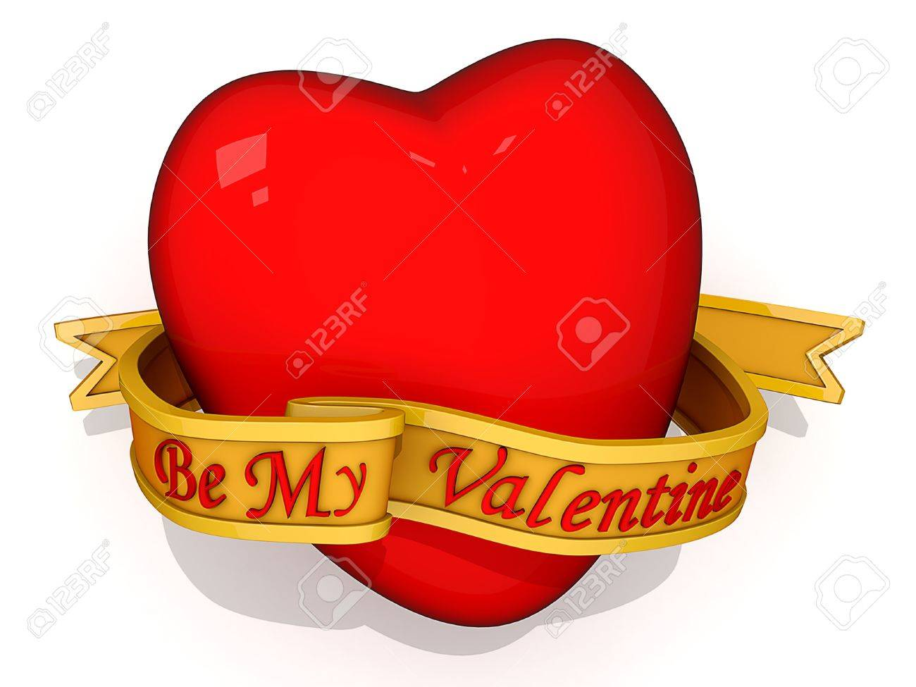 Red Heart with Be My Valentine on a ribbon in front. Stock Photo - 11772719