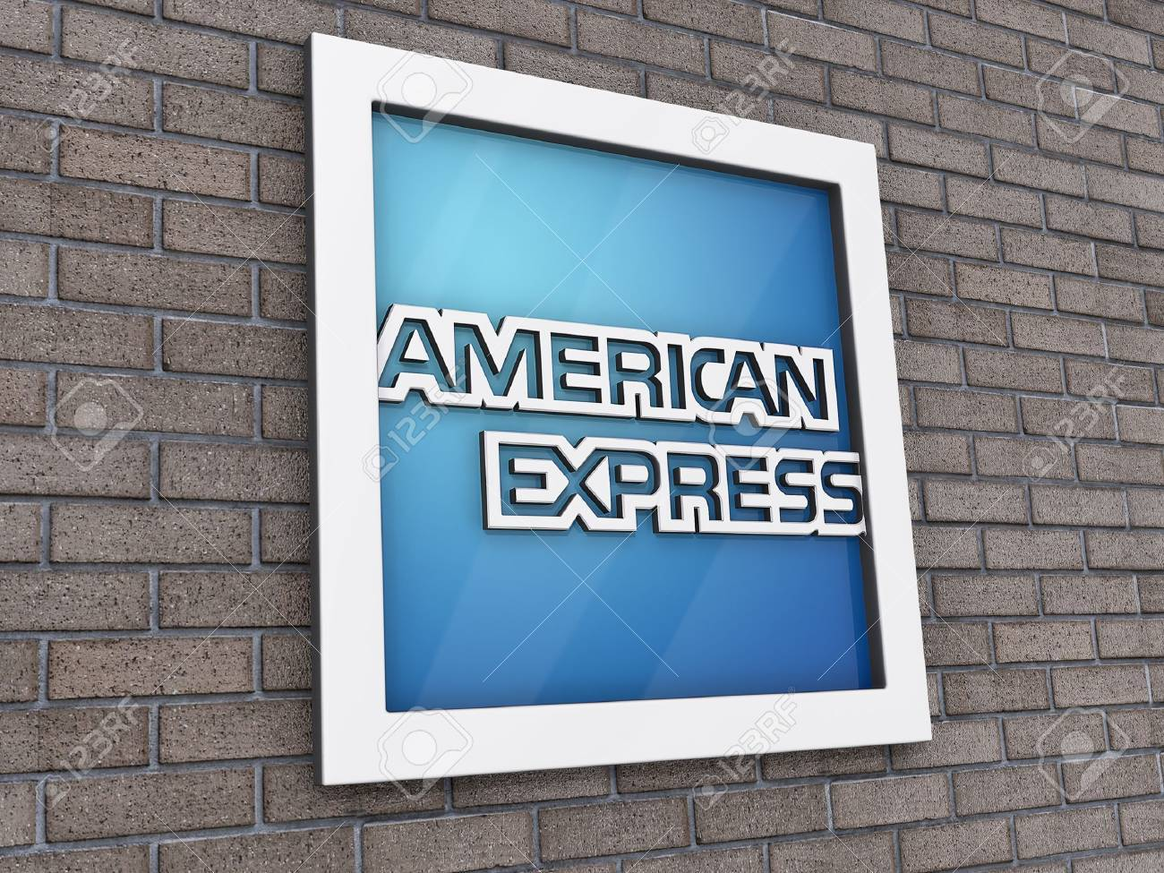 Vancouver, British Columbia, Canada - July 14, 2012 - American Express Logo on a brick wall background. Stock Photo - 14419802