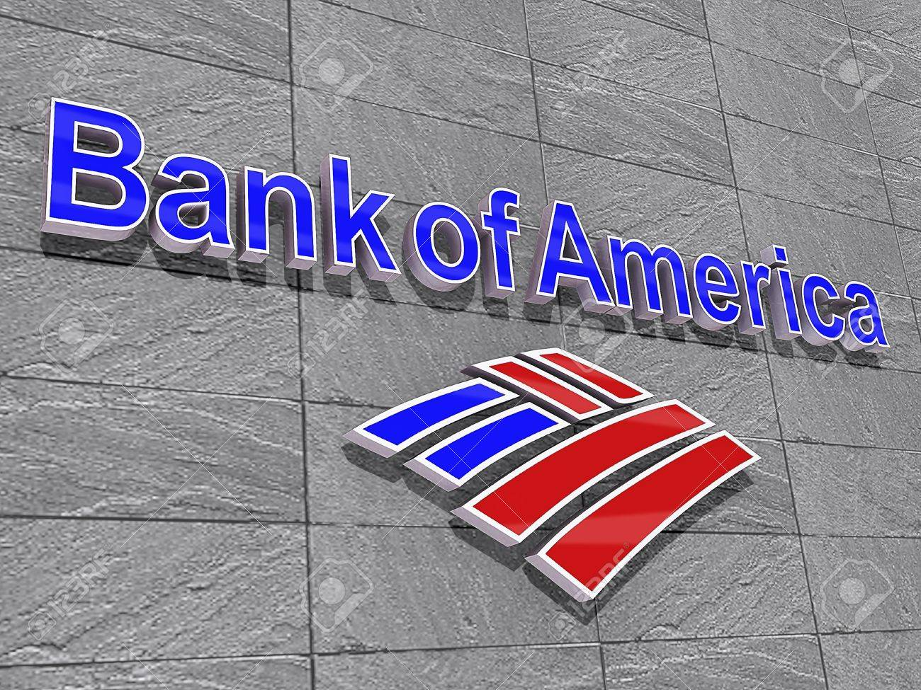 Vancouver, British Columbia, Canada - July 15, 2012 - Bank of America Logo on a Stone Slate Background. Stock Photo - 14443599