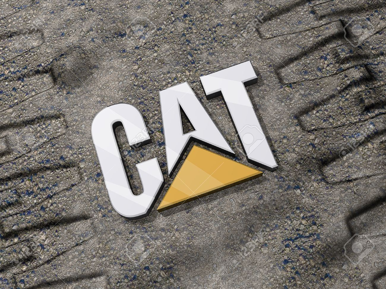 Stock photo vancouver british columbia canada july 15 2012 caterpillar logo on the ground between tread marks