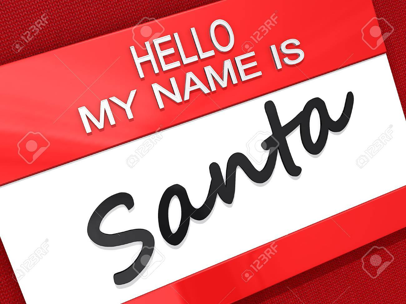 Hello My Name is Santa Sticker on a red shirt background Stock Photo - 15867614
