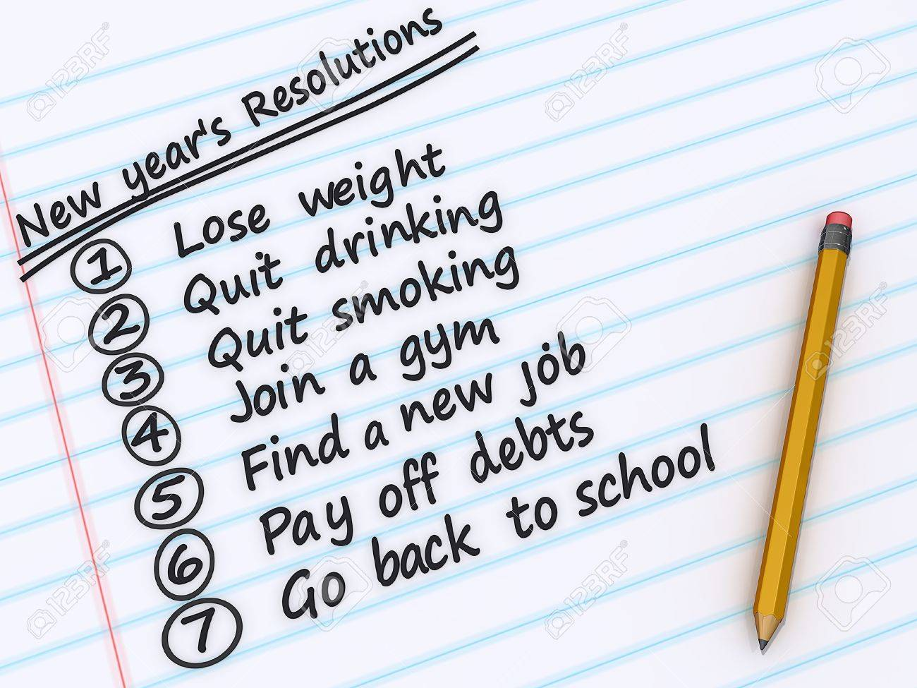 A list of New years resolutions on a sheet of paper Stock Photo - 16023018