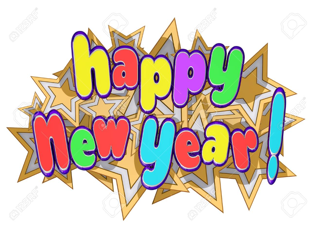 Happy New Yearon a field of gold stars Stock Photo - 16234028