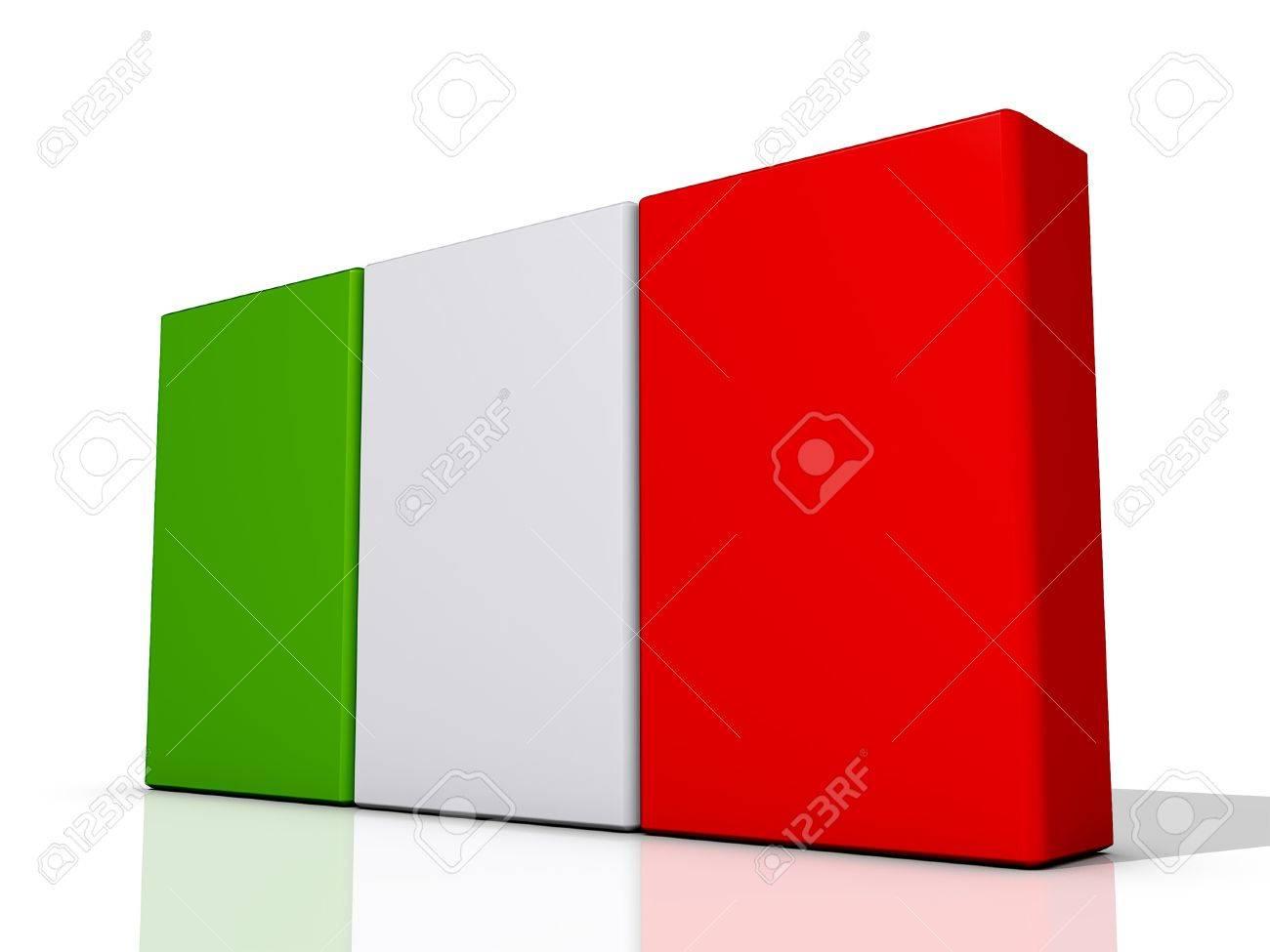 Italy Flag on a shiny white background Stock Photo - 16895079