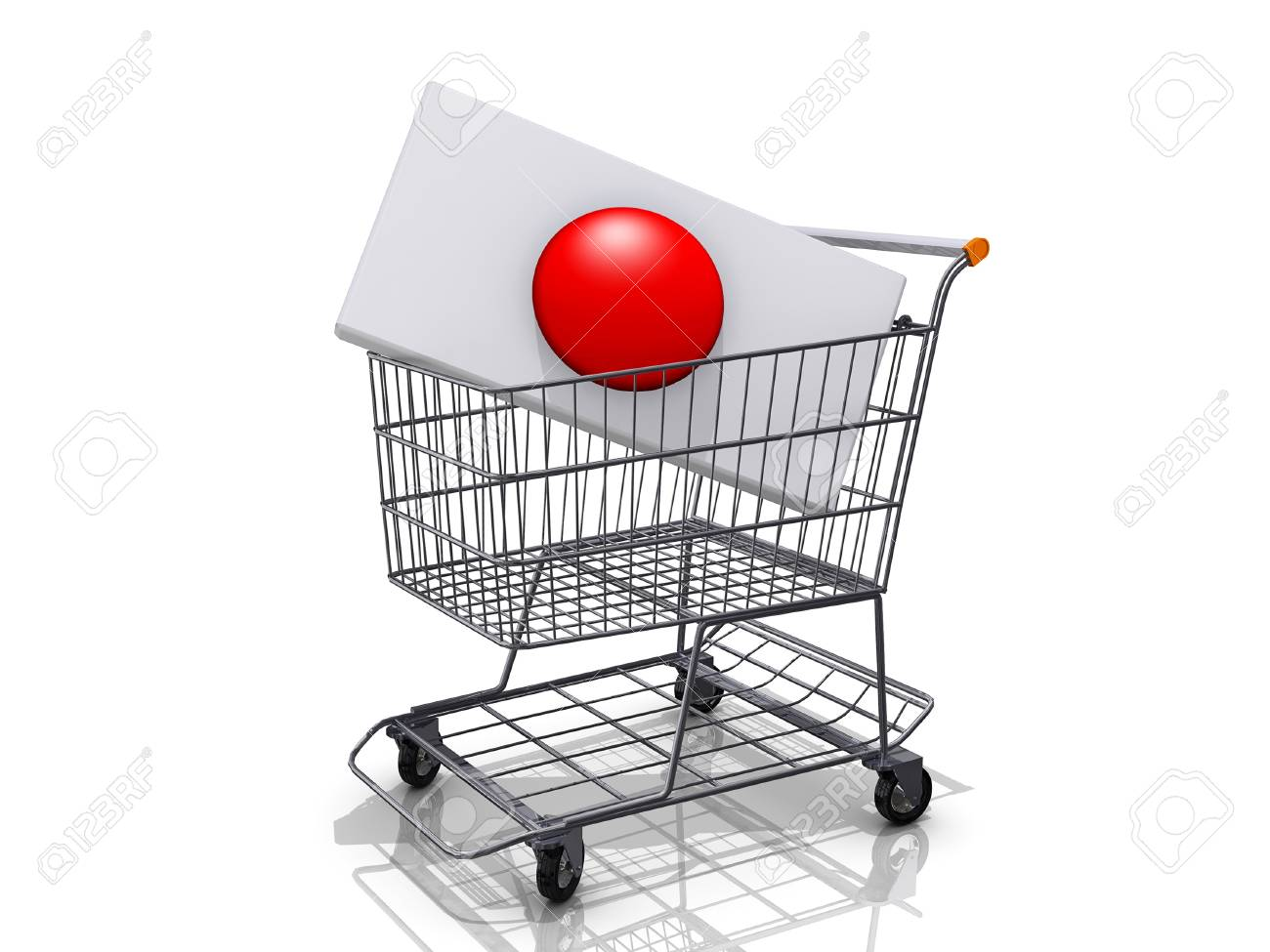 A Grocery shopping cart with a Japan Flag on a white background Stock Photo - 17081091