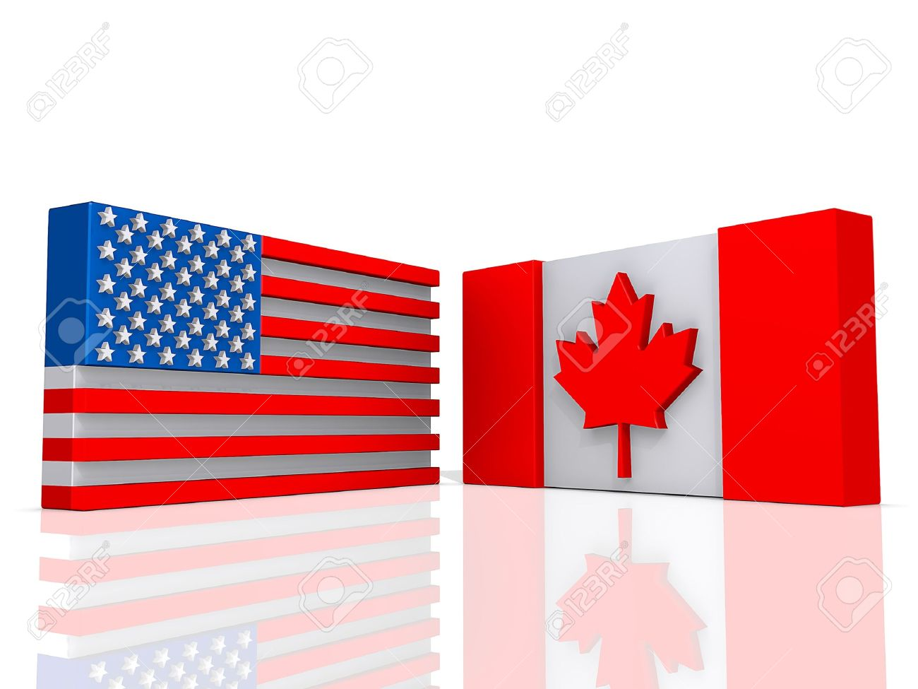canada and united states of america flags on a shiny white