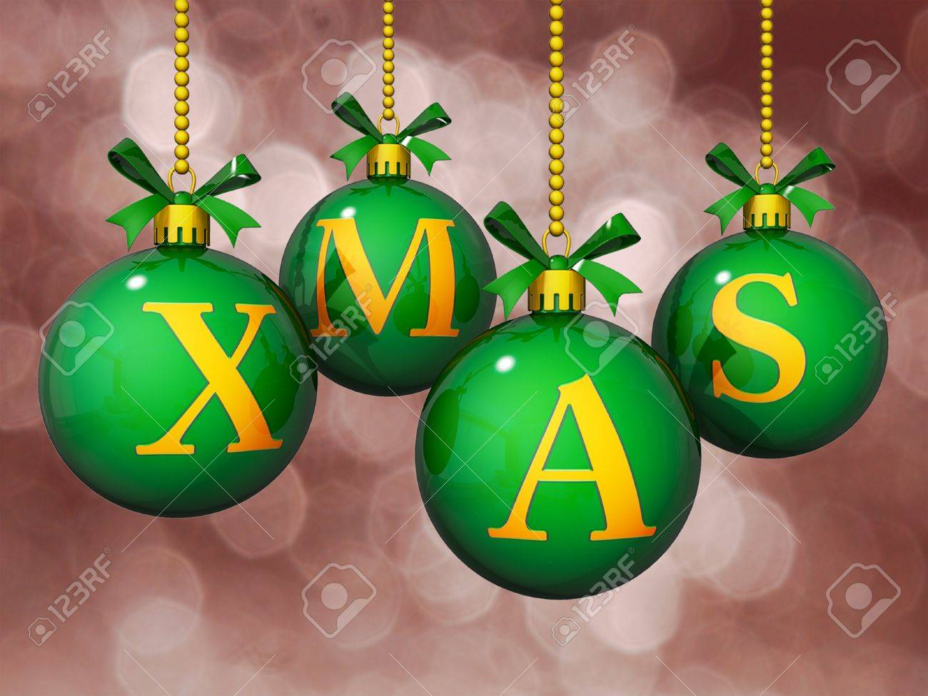 Ornaments with Xmas written on them in front of a Bokeh Background. Stock Photo - 17572084